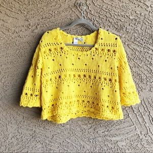 SPIEGEL Distressed Hole Cropped 3/4 Sleeve Sweater